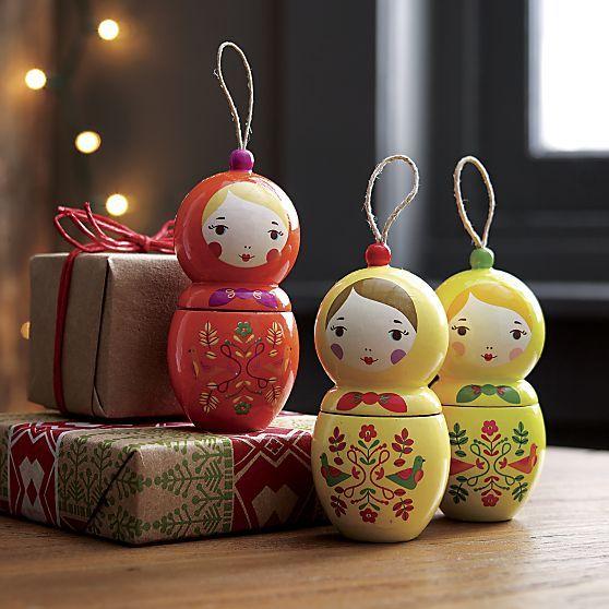 Matryoshka Nesting Doll Ornaments | Crate and Barrel