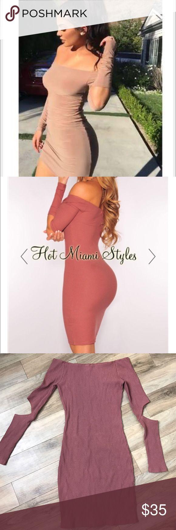 Hot Miami styles mauve dress small Hot Miami styles mauve dress small off the shoulder with cut outs Hot miami styles Dresses Mini
