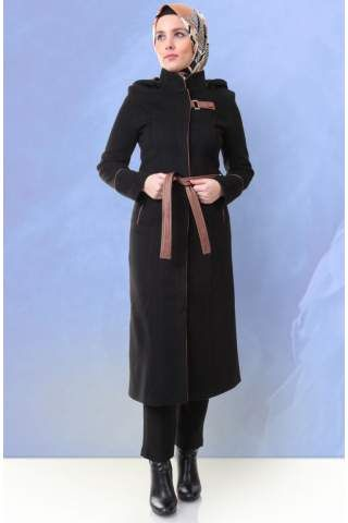 Miss Cazibe Kapüşonlu Kaşe Kaban 1837 Siyah