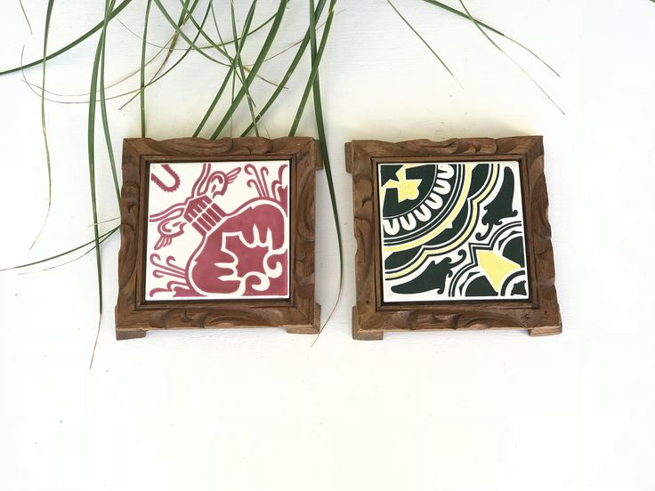 Vintage Mexican Pottery Tile Monterrey, Mexico - Set of 2 / Mexican Hand Painted Trivets / Southwestern Tile Trivets / Tile Wall Plaques by 626Vintage on Etsy