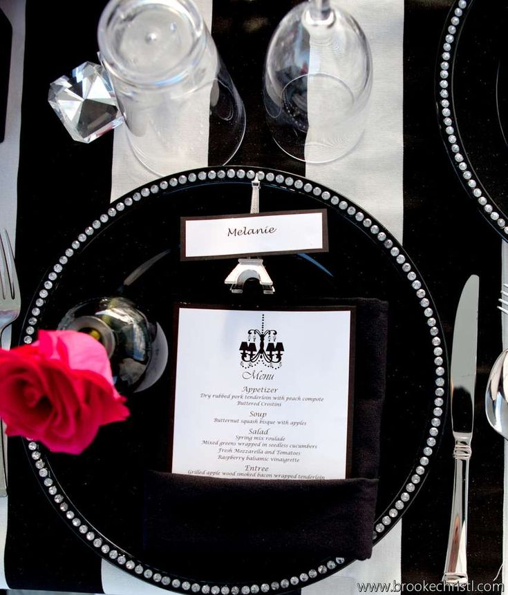 black and white Paris inspired table