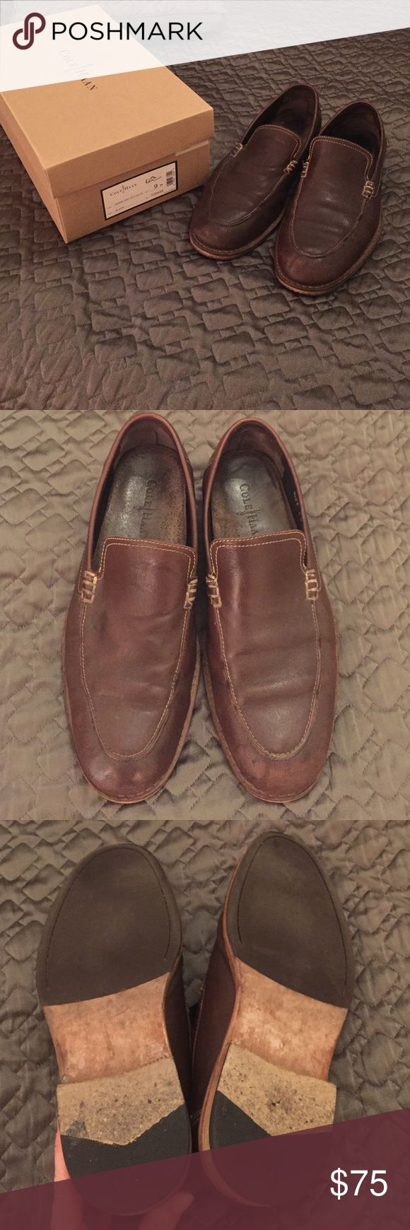 Cole Haan Brown Shoes Some fading on toe, great dark brown comfortable dress shoes. Cole Haan Shoes Loafers & Slip-Ons