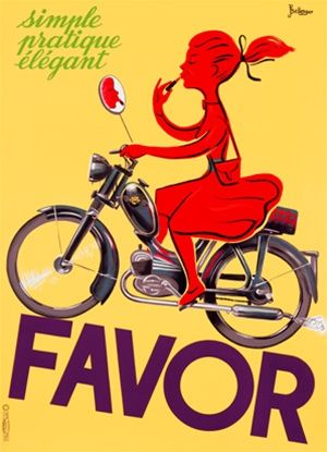 Favor scooter motorcycle poster by Bellenger, girl with lipstick circa 1952 vintage poster reproduction print. Girl riding a scooter while a...