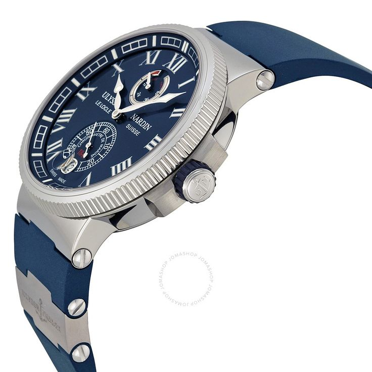 Ulysse Nardin Marine Chronometer Automatic Blue Dial Blue Rubber Men's Watch 1183-126-3-43 - Maxi Marine Chronometer - Maxi Marine - Ulysse Nardin - Watches  - Jomashop
