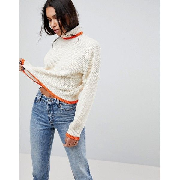 ASOS Chunky Crop Jumper With High Neck And Tipping (48 CAD) ❤ liked on Polyvore featuring tops, sweaters, cream, high neck sweater, crop top, asos sweater, party tops and cropped sweater