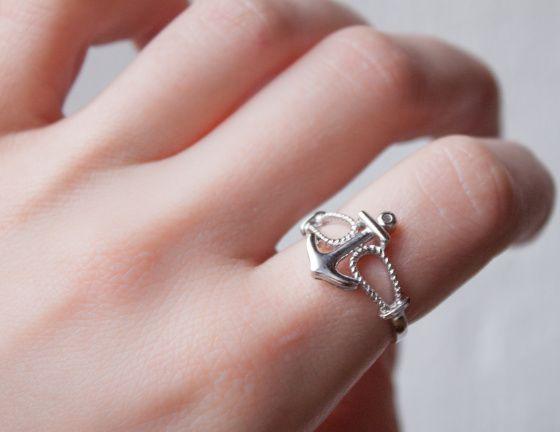 Anchor silver ring