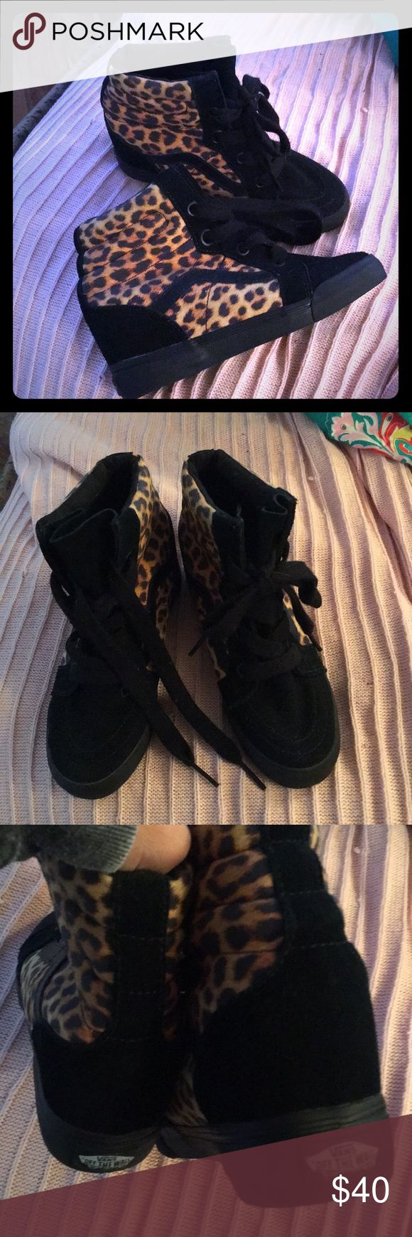 Rare wedge heel leopard Vans 7 Chanel your inner skater girl with a little Glamour in these hot Leopard Vans with Wedge heel! Size 7 in good condition!! Vans Shoes Athletic Shoes