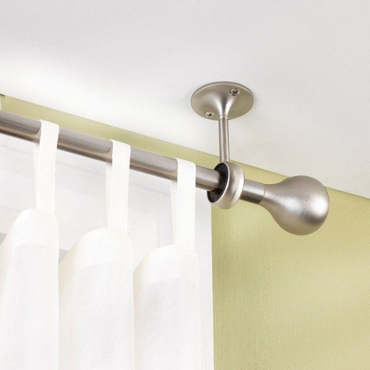 Decoration, Brushed Iron Curtain Rail Mounted On Ceiling ~ Ceiling Mount Curtain  Rod Ideas | Decorating | Pinterest | Ceiling Mount Curtain Rods, ...
