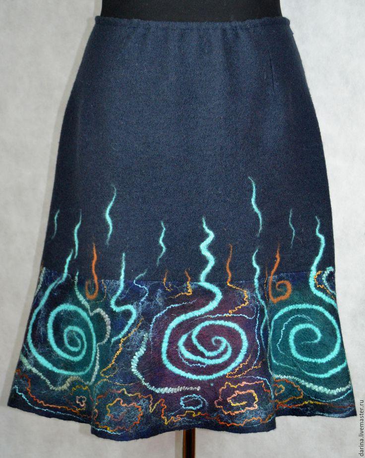Купить юбка валяная со спиралями - черный, валяная юбка, юбка из войлока, черная юбка