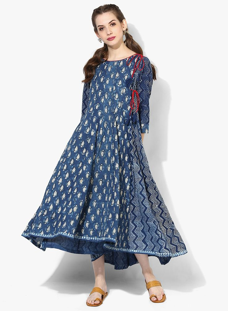 Sangria Navy Blue Cotton printed Anarkali Kurti