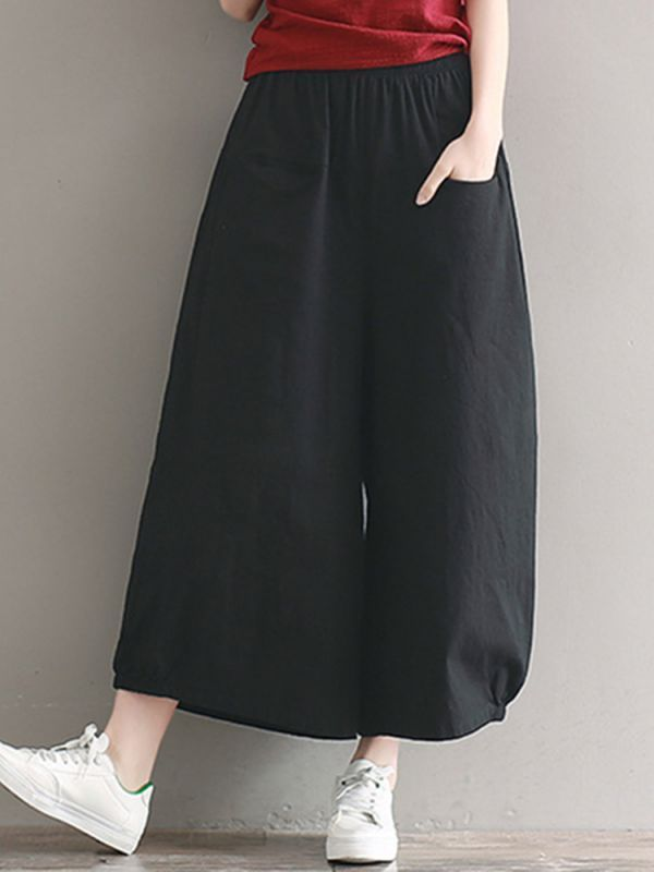 Women casual elastic waist pure color wide leg pants why are trousers called pants #balmain #trousers #sweatpants #denim #trousers #womens #pants #linen #trousers #pants #trousers #mens #tech #pants