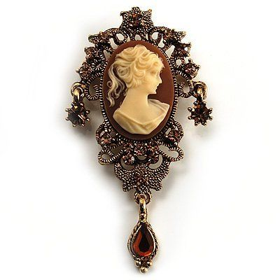 Heiress Filigree Crystal Charm 'Cameo' Brooch (Antique Gold) Avalaya. $25.11. Style: vintage, cameo. Type: crystal, filigree. Occasion: anniversary, mothers day, going to theatre. Metal Finish: antique gold. Gemstone: swarovski crystal, diamante. Save 30%!
