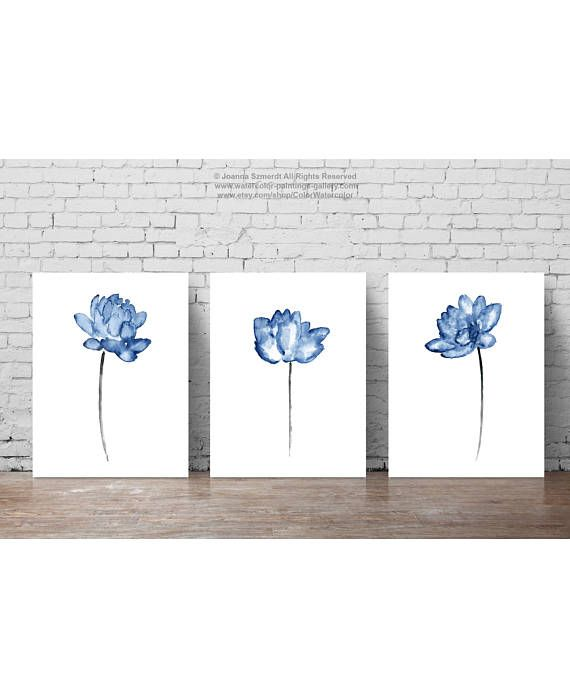 Lotus Watercolour Painting Navy Blue Flower set of 3 Flowers  #navy #blue #lotus #poster #nursery #art #flower #painting #illustration #decor