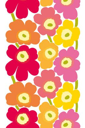 Reminds me of my childhood room's wallpaper....love it!....Unikko coated cotton fabric by Marimekko