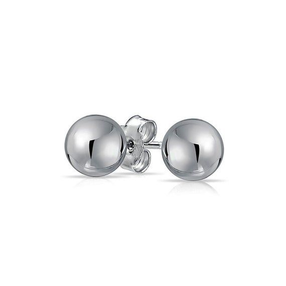 Polished 925 Sterling Silver Ball Bead Dome Earrings