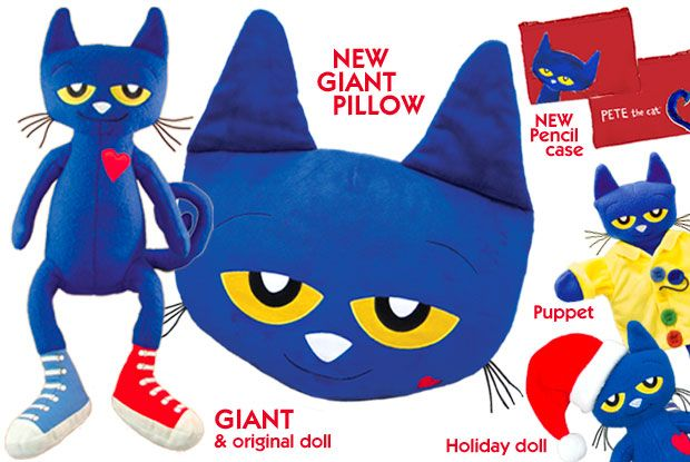 PETE THE CAT dolls, puppets and pillow from MerryMakers based on James Dean's enormously popular Pete the Cat character!