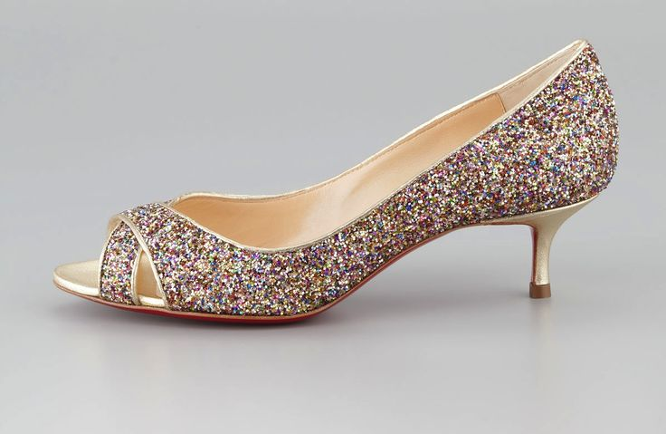 Low Heeled Wedding Shoes for Tall Brides Sparkly Christian Louboutin  colour could be good with your dress, no?
