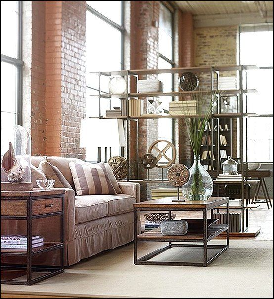 163 best industrial chic images on pinterest industrial for Industrial chic living room