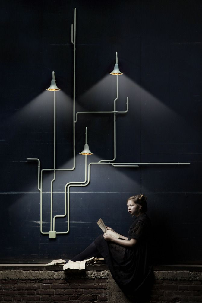 """Light Forest by Ontwerpduo // Light forest is a wall and ceiling lighting system. The possibilities are unlimited. The design consists out of different parts, which can de connected to the wall and ceiling. Step by step the lighting system will """"grow"""" across the space. It is possible to get only one single lighting point or many more lighting points, wherever you would like to position them. Obstacles or height differences are useful features to install these lights in a beautiful way."""