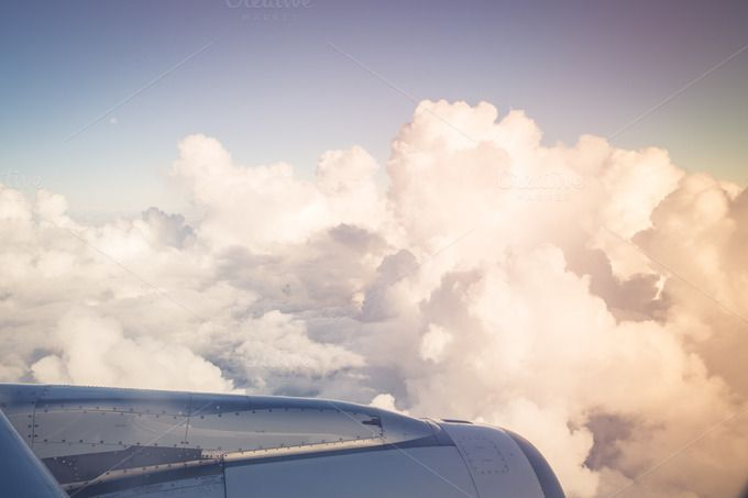 Window view of jet engine in flight by MDVPresets on @creativemarket
