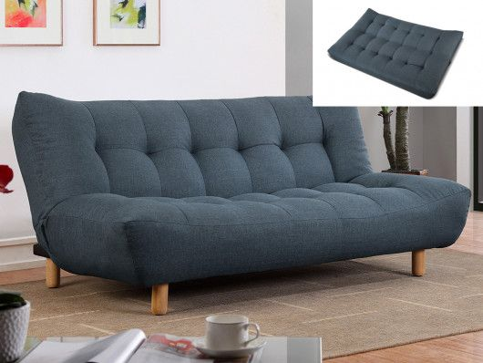 Canape Clic Clac 3 Places En Tissu Vincent Bleu Furniture