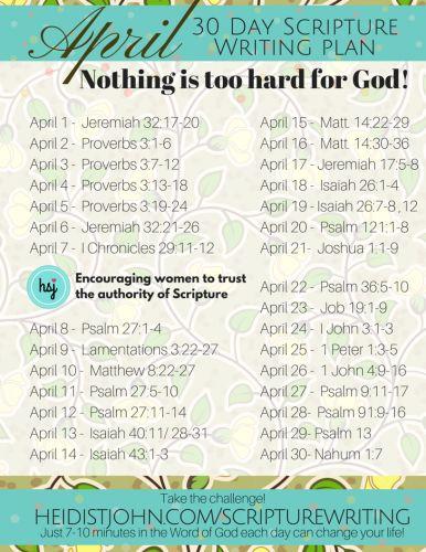 April Scripture Writing Plan