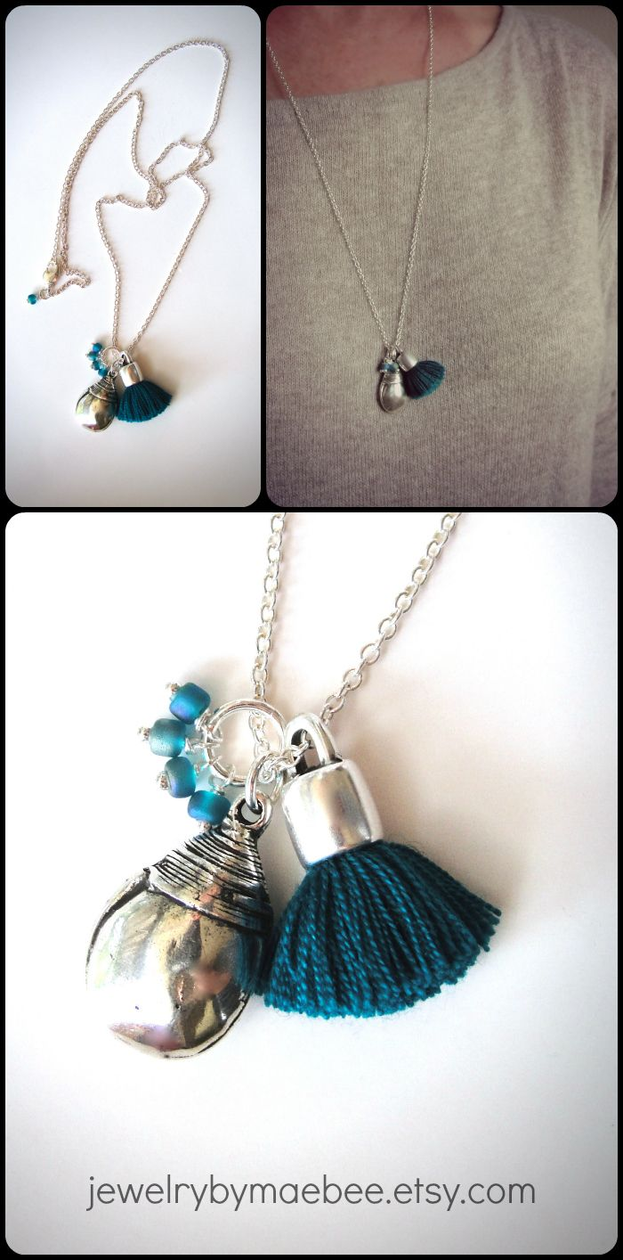 Fun today with some treasures from Barcelona...NEW silver and aqua blues tassle necklace from JewelryByMaeBee on Etsy. www.jewelrybymaebee.etsy.com