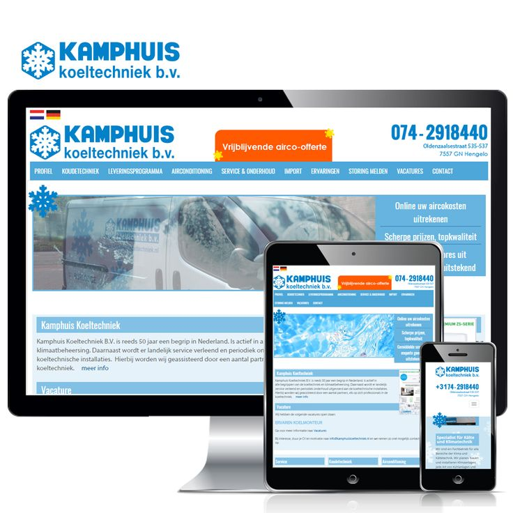 www.kamphuiskoeltechniek.nl en www.kamphuiskaeltetechnik.de – Kamphuis Koeltechniek B.V. is reeds 50 jaar een begrip in alle facetten van de koeltechniek en klimaatbeheersing. Weppster verzorgt al meer dan 17 jaar de website en sinds 5 jaar ook de online marketing. Jaarlijks zorgen we voor vele tientallen leads en sinds kort is ook de Duitse webshop online!  Volg ons ook op: Blogspot - http://weppster.blogspot.nl/