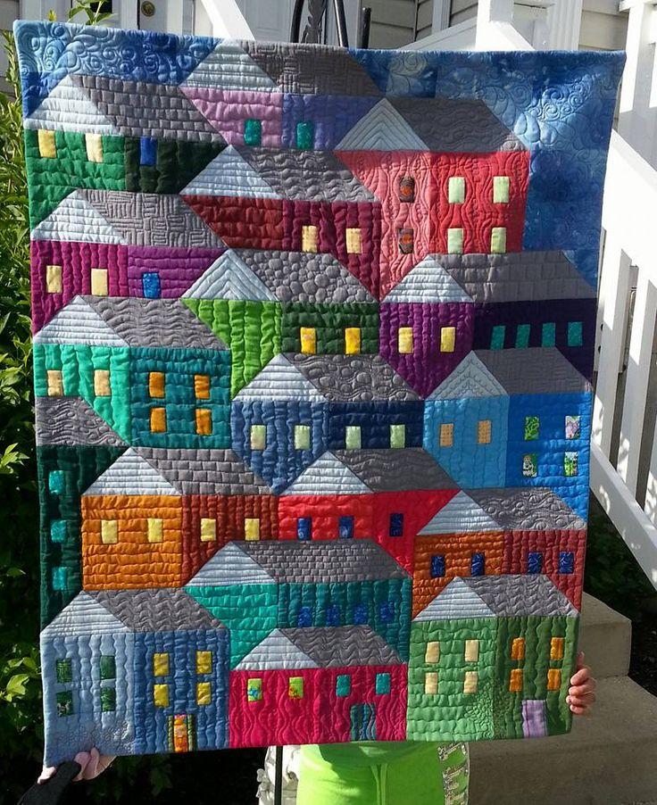 Hillside Houses.. Aileen Fitzpatrick .. Quiltville's Open Studio