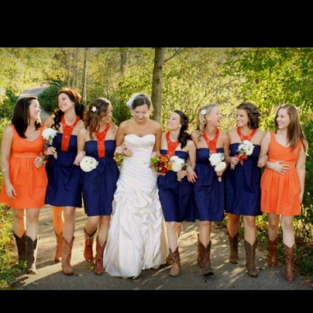 Amazing Orange U0026 Blue Bridal Party. Bridesmaid IdeasWedding BridesmaidsBridesmaid  DressesMarch ...