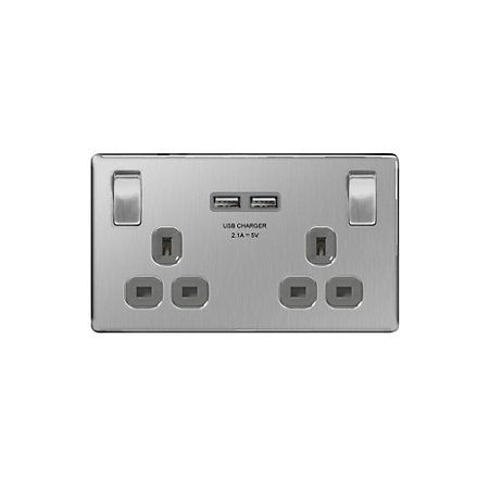B&Q | Colours 13A 2-Gang Brushed Steel Effect Switched Socket with 2 USB Chargers