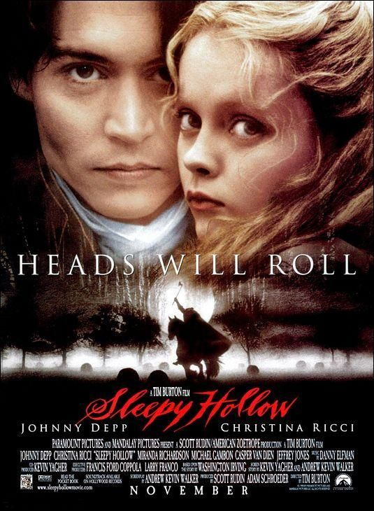 """Sleepy Hollow"" (1999). COUNTRY: United States. DIRECTOR: Tim Burton. SCREENWRITER: Andrew Kevin Walker (Novel: Washington Irving). CAST: Johnny Depp, Christina Ricci, Miranda Richardson, Michael Gambon, Marc Pickering, Casper Van Dien, Richard Griffiths, Ian McDiarmid, Jeffrey Jones, Michael Gough, Steven Waddington, Christopher Walken, Christopher Lee, Alun Armstrong, Claire Skinner, Lisa Marie, Martin Landau"