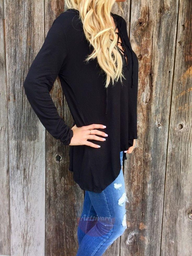Fashion Women Criss Cross Tops Casual Lace Tees Poly V Neck Long Sleeve Tshirt | eBay