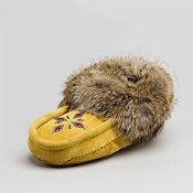 women's Tan Suede Moccasins with rabbit fur trim - can order online $69