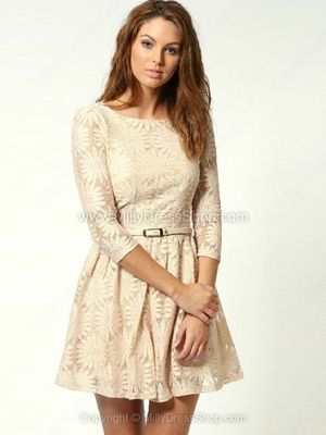 Beige Zipper V-back Sunflower Lace Skater Dress