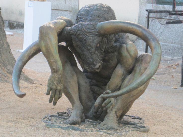 """""""Minotaur"""", by sculptor Pedro Requejo, sculpture seen in San Lorenzo de El Escorial, in August 2010"""