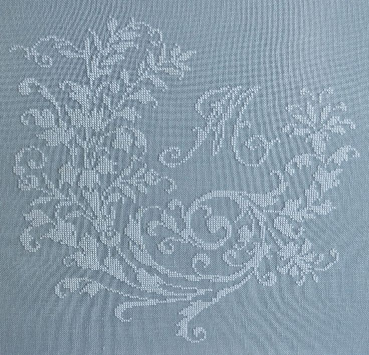 French cross-stitched monogram ~ white silk on gray-blue linen ~ French blue ~ shabby chic cross stitch ~beautiful French cross stitch