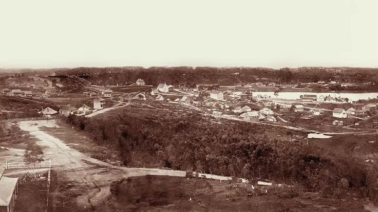Brisbane, 1862 -   This panorama was created from eight wet plate stills taken of Brisbane from Spring Hill. The images cover the area north of Petrie Bight around east and south to the north of Roma Street Station.