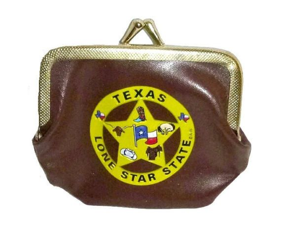 Vintage 70s TEXAS LONE STAR Coin Change Purse 1970s Hipster Texan Coins Pouch Kitsch Wallet Collectible Cowboy Cowgirl Cattle Rancher Gift