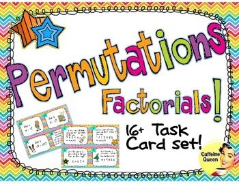 These Permutation and Combination task cards are a great reinforcement for calculating permutations and factorials.  There are 16 different Combination and Permutation task cards and one sheet of blank, un-numbered task cards, which allow you to make your own problems unique to your class and needs, or to allow students to design some cards of their own.