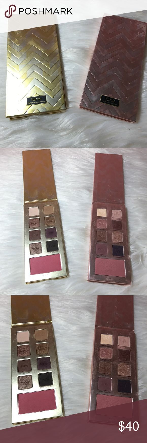 Two Tarte Holiday Palettes Only ever swatch but has been disinfected with isopropyl alcohol listed new with tags so I can share in Poshmark parties tarte Makeup Eyeshadow