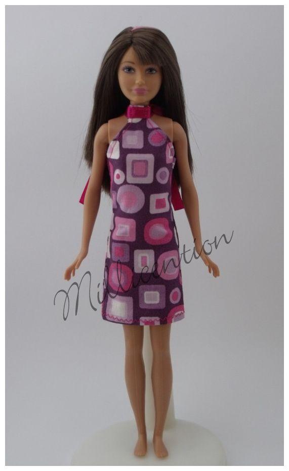 Purple and pink Skipper doll sheathdress