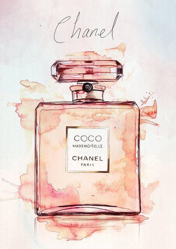 Coco Mademoiselle Chanel Parfüm Aquarell Illustration Giclée … | IdealPin – …
