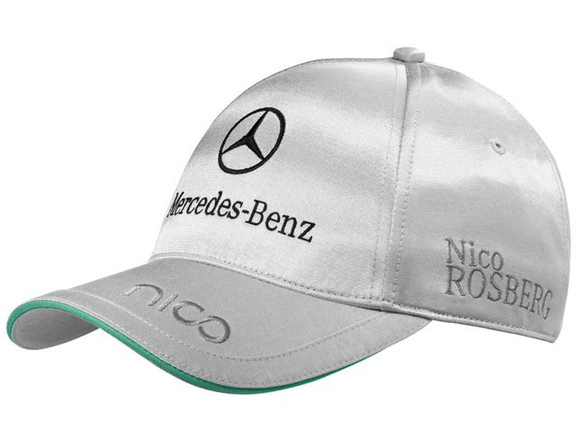 Cap, Men, Rosberg B67995078 Rosberg baseball cap 2013. Silver-coloured. 57% cotton/43% polyester.  Sandwich peak detail in Petronas green. Nico logo on peak. Nico Rosberg logo embroidered on side.  Mercedes AMG Petronas embroidered on side.  Puma logo embroidered on back. Mercedes‑Benz logo embroidered on front.