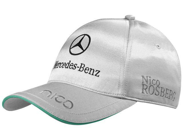 Cap, Men, Rosberg B67995078 Rosberg baseball cap 2013. Silver-coloured. 57% cotton/43% polyester.  Sandwich peak detail in Petronas green. Nico logo on peak. Nico Rosberg logo embroidered on side.  Mercedes AMG Petronas embroidered on side.  Puma logo embroidered on back. Mercedes‑Benz logo embroidered on front.