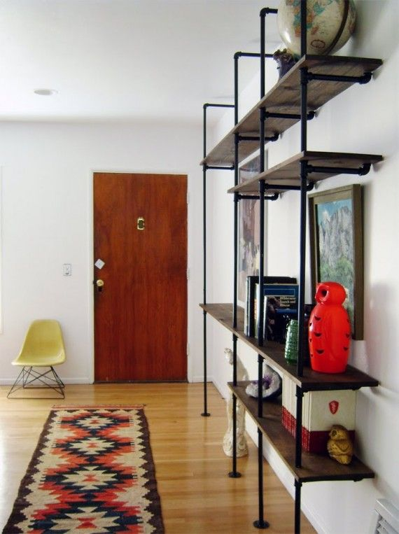 tribal rug, piping shelves, quirky artefacts, hearts desire!