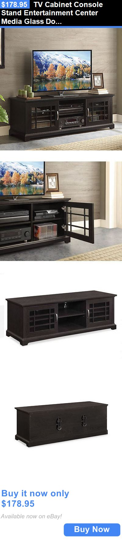 Entertainment Units TV Stands: Tv Cabinet Console Stand Entertainment Center Media Glass Doors 3 Shelves 70 BUY IT NOW ONLY: $178.95