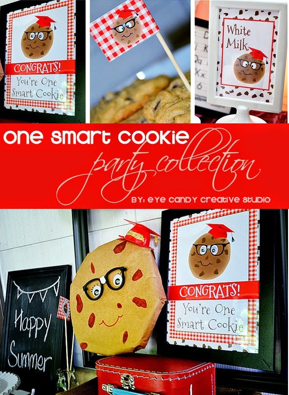 One Smart Cookie Collection @eyecandycreate #graduation #onesmartcookie #gradparty  #milkandcookies #kidsgraduation #schoolsout