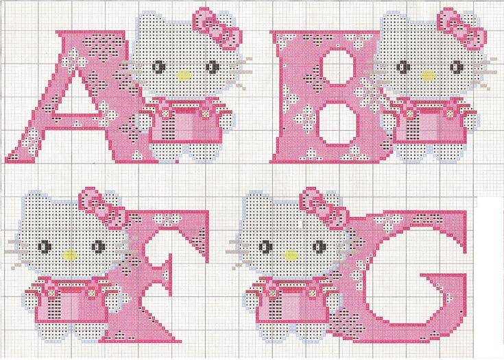 Hello Kitty ABC Alphabet - Free Cross Stitch Chart Pattern:
