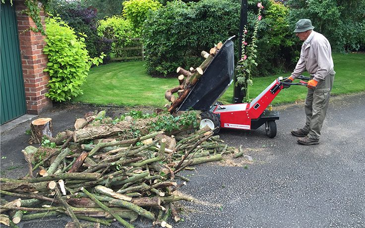 Using an Electric Wheelbarrow to bring in the logs for winter. Not only does it have powered drive, backwards and forwards but, the tipping is powered also - just press a button and it will tip over 400Kg over logs just where you want them!